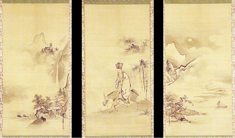絹本著色八景図